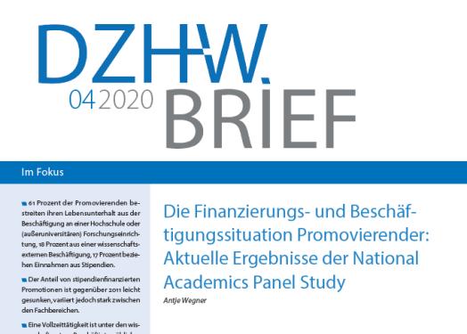 DZHW-Brief zur Finanzierungs- und Beschäftigungssituation Promovierender
